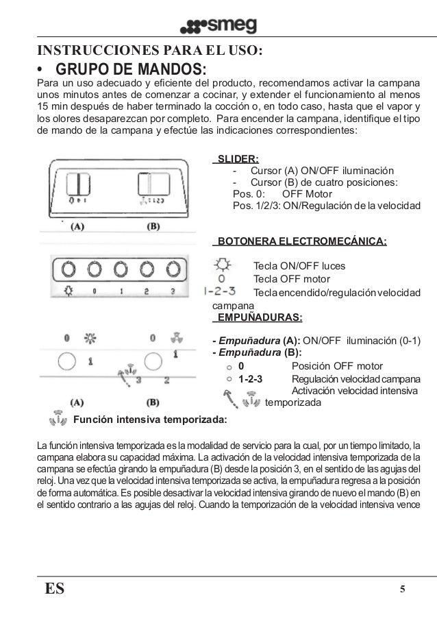 ES 5 INSTRUCCIONES PARA EL USO:   SLIDER: - Cursor (A) ON/OFF iluminación - Cursor (B) de cuatro posiciones: Pos. 0:    ...