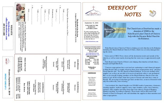 DEERFOOTDEERFOOTDEERFOOTDEERFOOT NOTESNOTESNOTESNOTES September 15, 2019 GreetersSeptember15,2019 IMPACTGROUP3 WELCOME TO ...