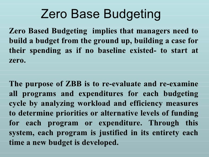 9159001 Zero Base Budgeting A And Performance Budgeting