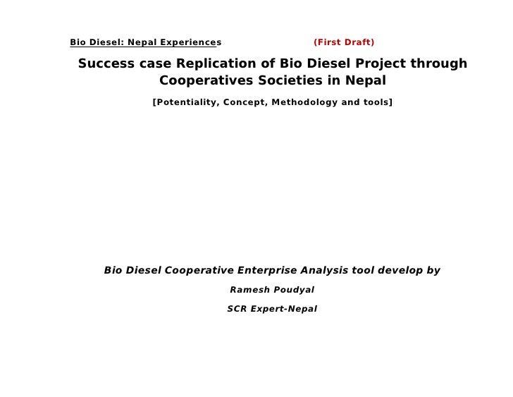 Bio Diesel: Nepal Experiences                  (First Draft) Success case Replication of Bio Diesel Project through       ...
