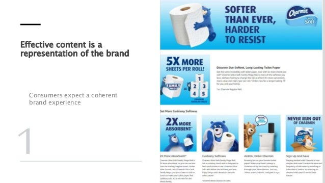Effective content is a representation of the brand Consumers expect a coherent brand experience