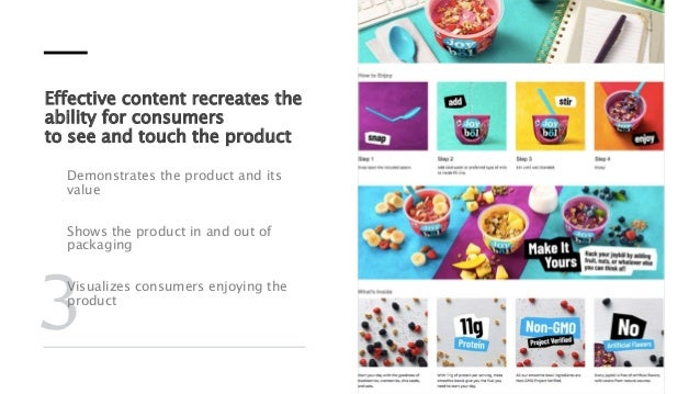 Effective content recreates the ability for consumers to see and touch the product Demonstrates the product and its value ...