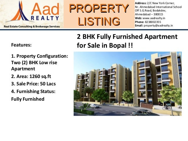 PROPERTYPROPERTY LISTINGLISTING Address: 2/C New York Corner, Nr. Ahmedabad International School Off S.G.Road, Bodakdev, A...