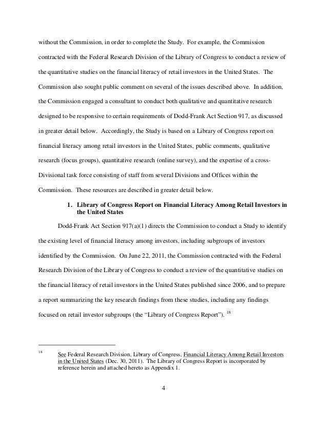 Sec study financial literacy of retail investors - Office of investor education and advocacy ...