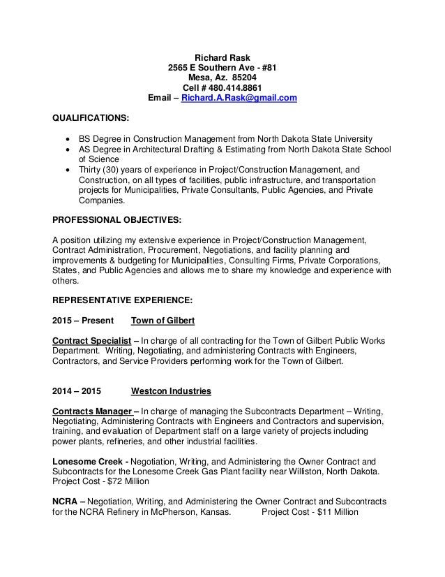 Cover Letter U0026 Resume. Richard Rask 2565 E Southern Ave   #81 Mesa, Az.  85204 Cell ...