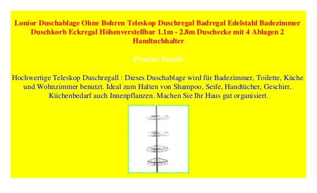 Möbel & Wohnen Badzubehör & -textilien Lonior Teleskopduschregal Edelstahl Duschablage Ohne Bohren Duschkorb Eckregal