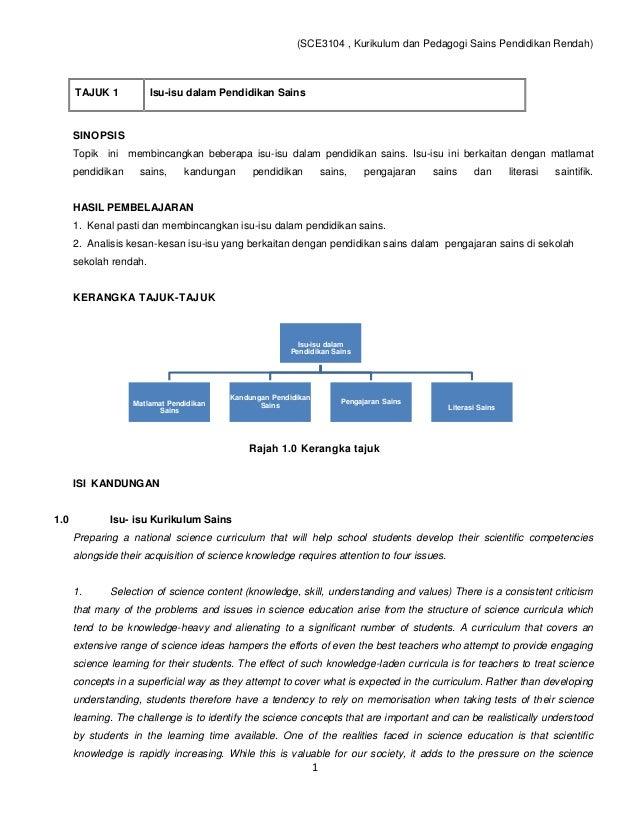 (SCE3104 , Kurikulum dan Pedagogi Sains Pendidikan Rendah)      TAJUK 1           Isu-isu dalam Pendidikan Sains      SINO...