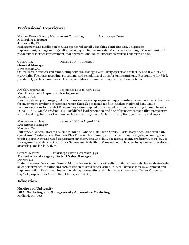 michael g  peters resume a1 copart  oem retail consultant