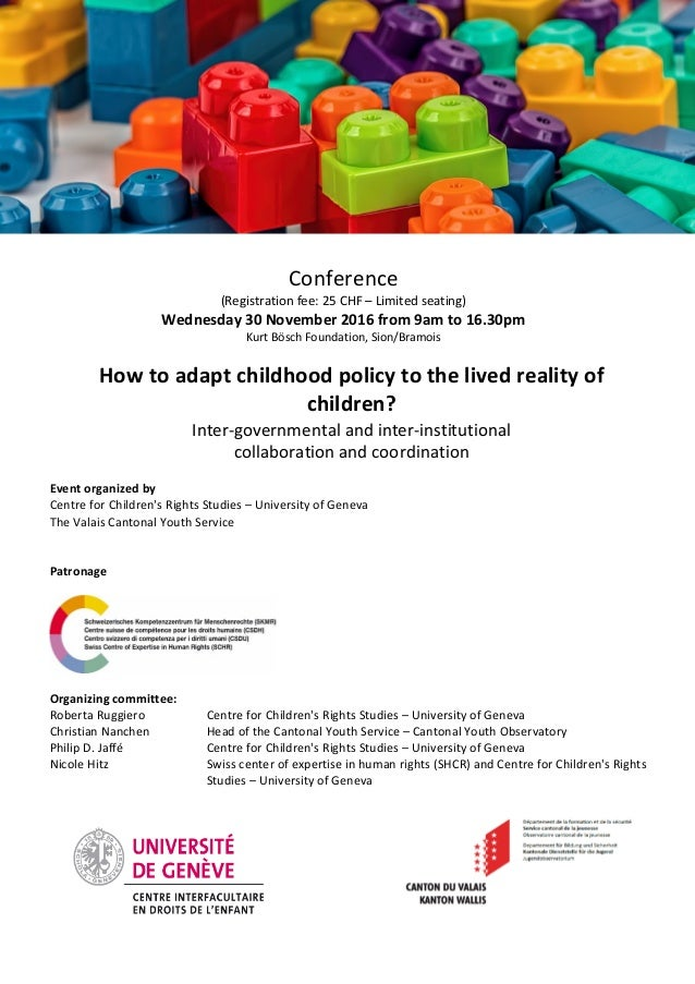 Conference (Registration fee: 25 CHF – Limited seating) Wednesday 30 November 2016 from 9am to 16.30pm Kurt Bösch Foundati...