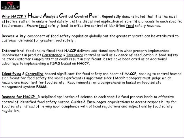 Haccp training program red lobster ryd - Haccp definition cuisine ...
