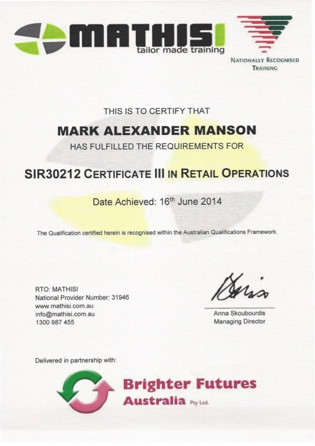 Certificate 3 Retail Operations 2014