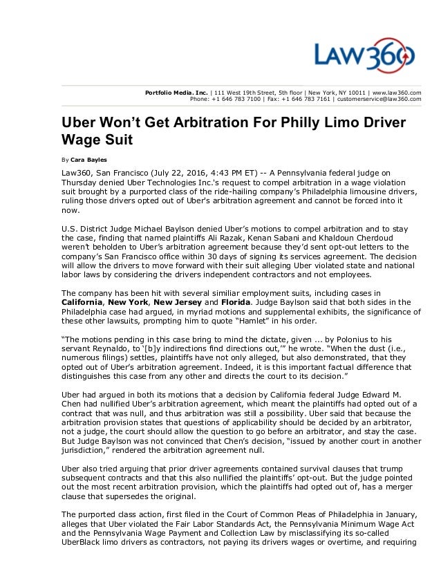Uber Wont Get Arbitration For Philly Limo Driver Wage Suit Law360