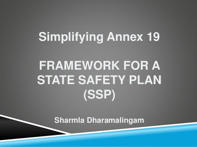 State Safety Plan SIMPLIFYING Annex 19