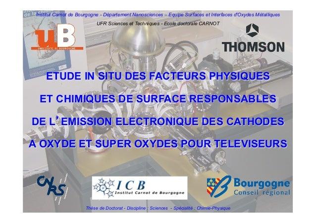 ETUDE IN SITU DES FACTEURS PHYSIQUES ET CHIMIQUES DE SURFACE RESPONSABLES DE L'EMISSION ELECTRONIQUE DES CATHODES A OXYDE ...