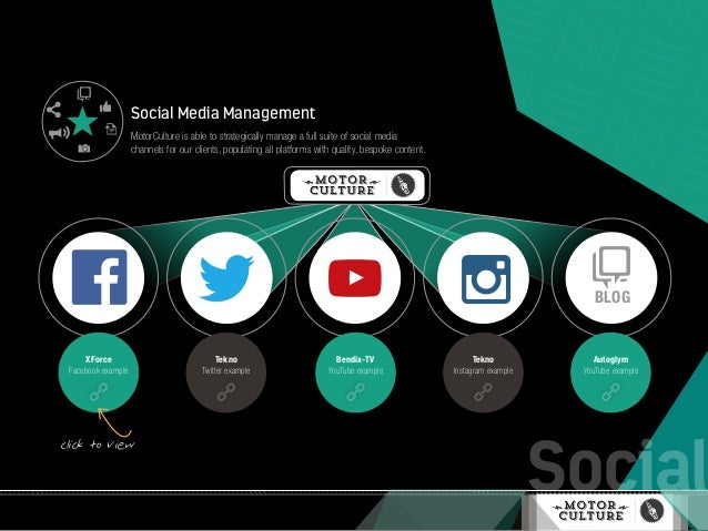 Social Social Media Management MotorCulture is able to strategically manage a full suite of social media channels for our ...