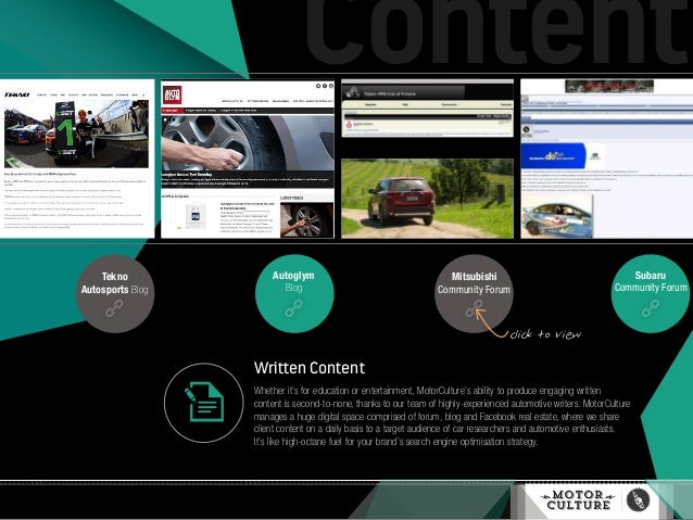 Written Content Whether it's for education or entertainment, MotorCulture's ability to produce engaging written content is...