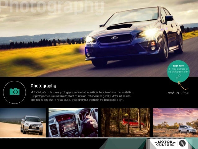 Photography MotorCulture's professional photography service further adds to the suite of resources available. Our photogra...