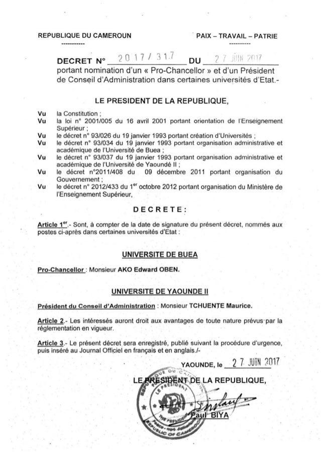 Paul Biya President Du Cameroun Decret N 2017 317 Du 27