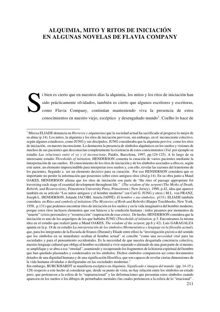 ALQUIMIA, MITO Y RITOS DE INICIACIÓN            EN ALGUNAS NOVELAS DE FLAVIA COMPANY     S           i bien es cierto que ...