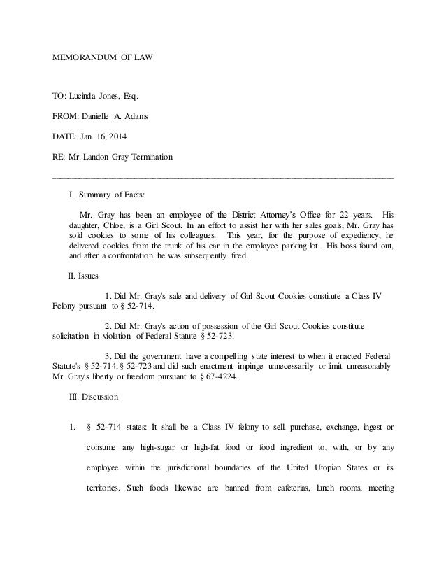 MEMO OF LAW EXAMPLE – Legal Memo