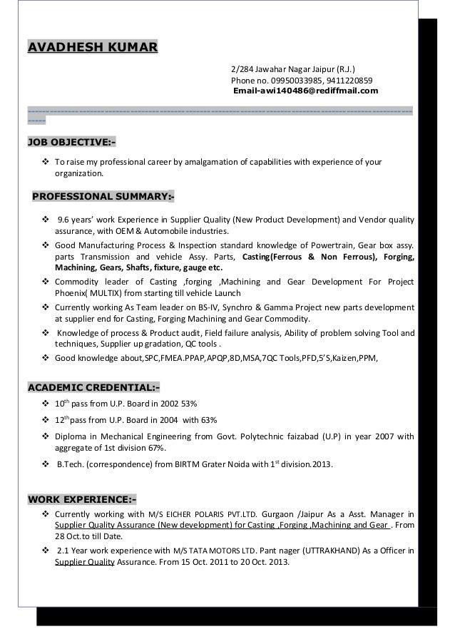 resume avadhesh sqa