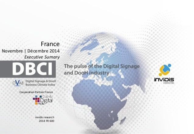 France  Novembre  Décembre2014  Executive Sumary  invidis research  2014 FR 600  Cooperation Partner France