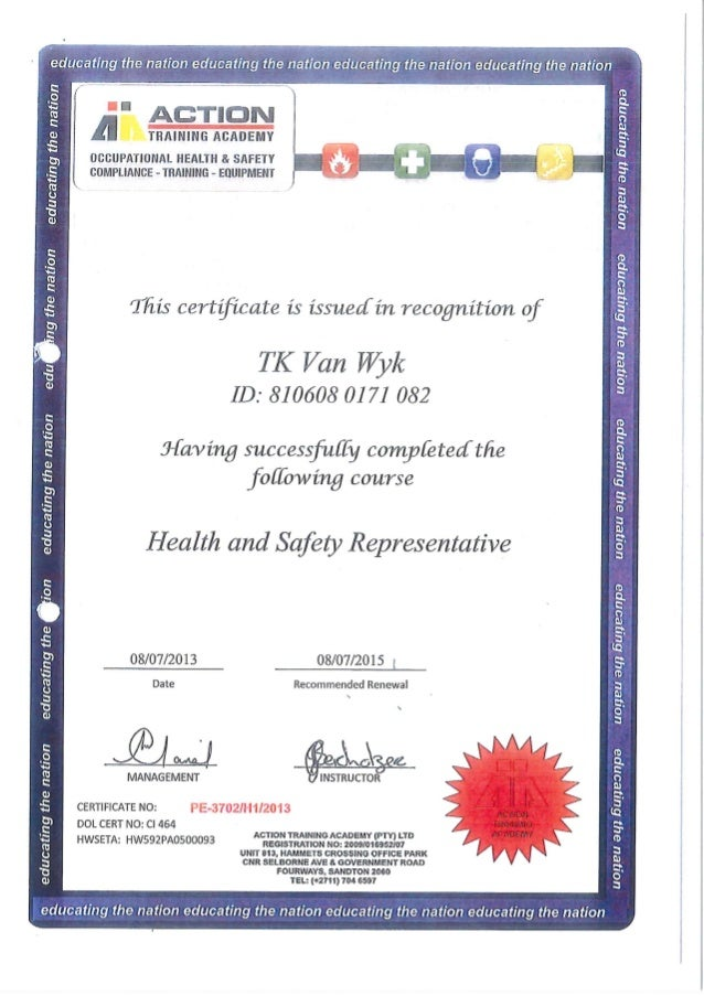 Certificate health and safety rep action training academy for Health and safety certificate template