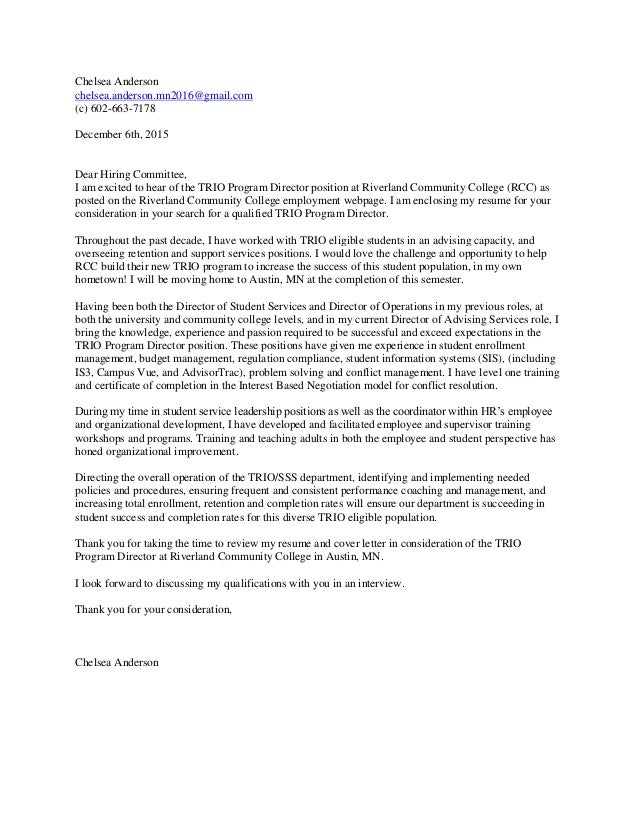 director of community relations cover letter