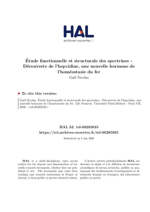 Etude fonctionnelle et structurale des spectrines -  Decouverte de l'hepcidine, une nouvelle hormone de  l'homeostasie du ...