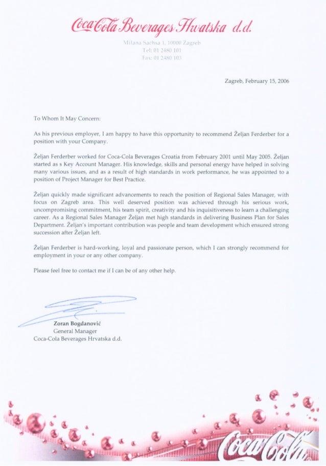 zeljan f recommendation letter coca