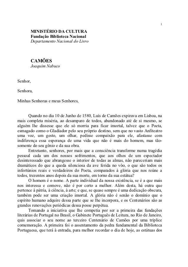 1       MINISTÉRIO DA CULTURA       Fundação Biblioteca Nacional       Departamento Nacional do Livro       CAMÕES       J...