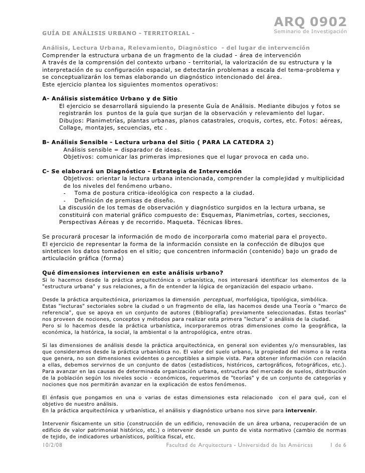ARQ 0902 GUÍA DE ANÁLISIS URBANO - TERRITORIAL -                                               Seminario de Investigación ...