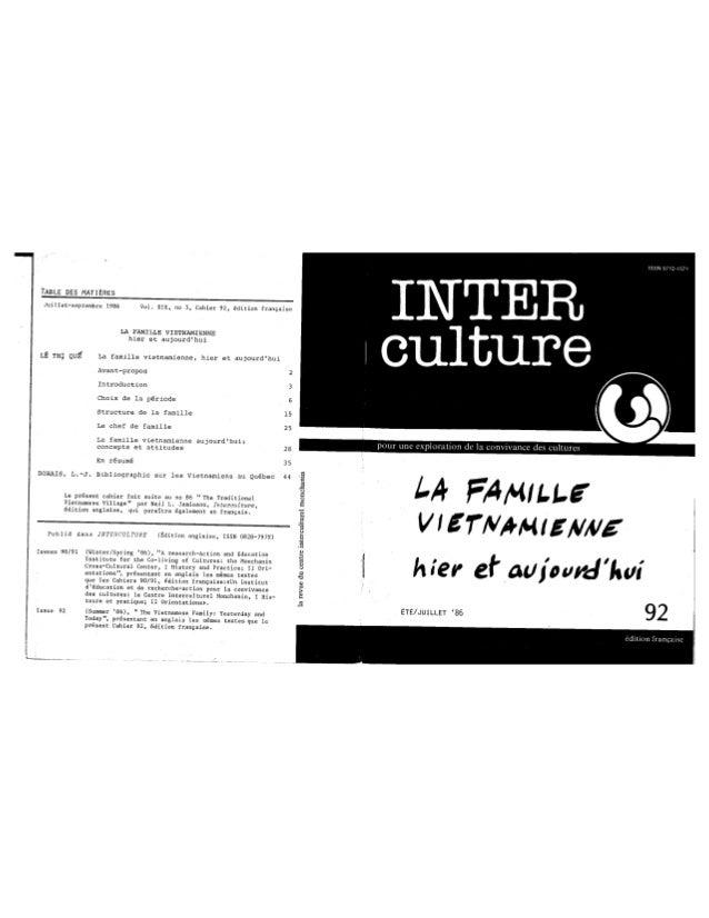 92 la famille vietnamienne hier et aujourd'hui. lê, t.q., dorais, l.j. (document à télécharger en format pdf, 1,8 mb).