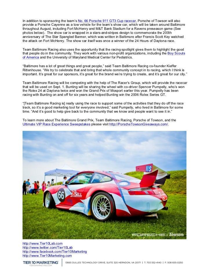 Porsche Of Towson >> Porsche Of Towson To Sponsor Racecar Give Away Prize