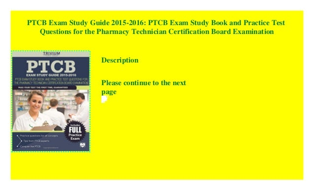 Ptcb Exam Study Guide 2015 2016 Ptcb Exam Study Book And Practice T