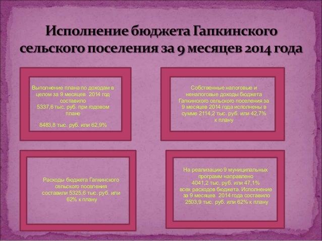 Расходы бюджета Гапкинского  сельского поселения  составили 5325,6 тыс. руб. или  62% к плану  На реализацию 9 муниципальн...