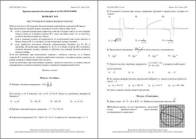 кдр по математике класс апрель год  МАТЕМАТИКА 9 класс