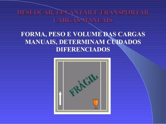 DESLOCAR, LEVANTAR E TRANSPORTARDESLOCAR, LEVANTAR E TRANSPORTAR CARGAS MANUAISCARGAS MANUAIS FORMA, PESO E VOLUME DAS CAR...