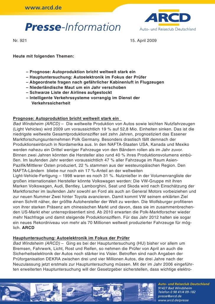 www.arcd.de      Presse-InformationNr. 921                                                     15. April 2009Heute mit fol...