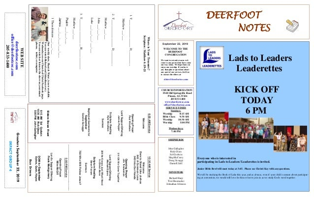 DEERFOOTDEERFOOTDEERFOOTDEERFOOT NOTESNOTESNOTESNOTES September 22, 2019 GreetersSeptember22,2019 IMPACTGROUP4 WELCOME TO ...