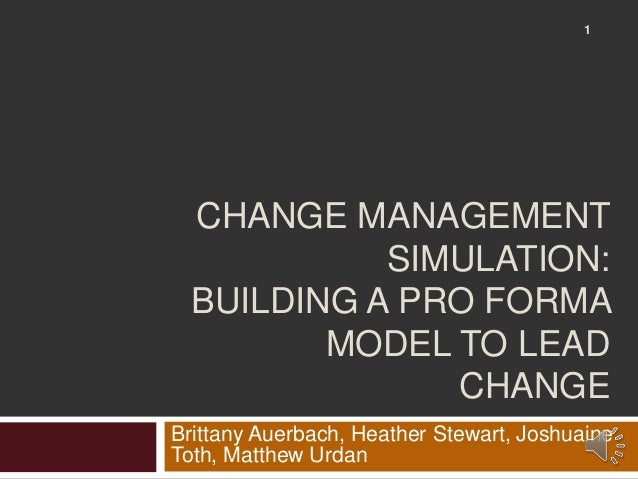 change simulation Agenda introduction diagnosis change theory planning implementation debrief plenary simulation (in teams) plenary simulation (in teams) simulation (in teams.