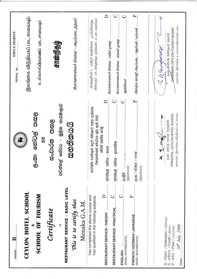Slithm Restaurant Service Certificate