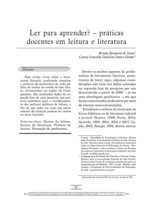 21 Revista do Programa de Pós-Graduação em Letras da Universidade de Passo Fundo - v. 5 - n. 1 - 21-31 - jan./jun. 2009 Le...