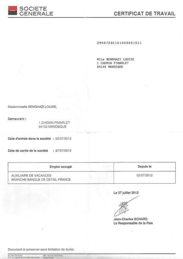 Certificat de travail SG