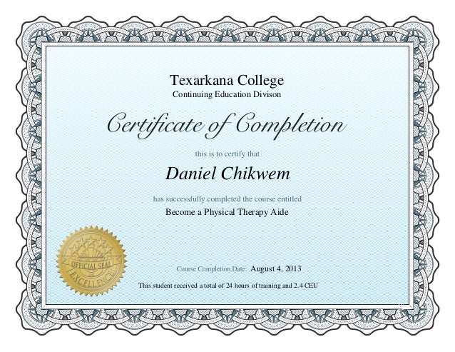 Physical Therapy Aide Certificate