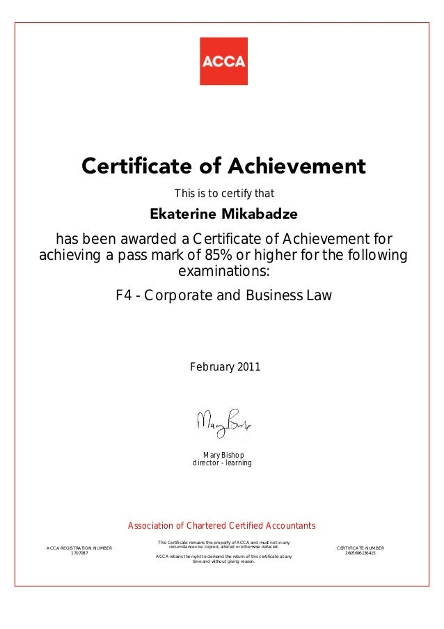 Certificate  F Achievement