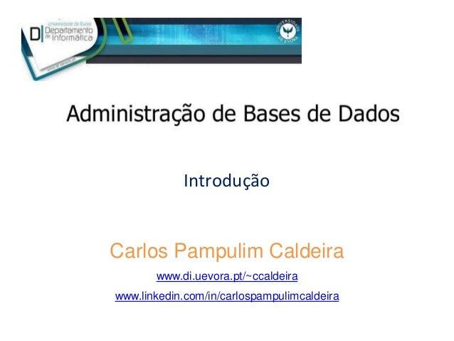 Introdução Carlos Pampulim Caldeira www.di.uevora.pt/~ccaldeira www.linkedin.com/in/carlospampulimcaldeira