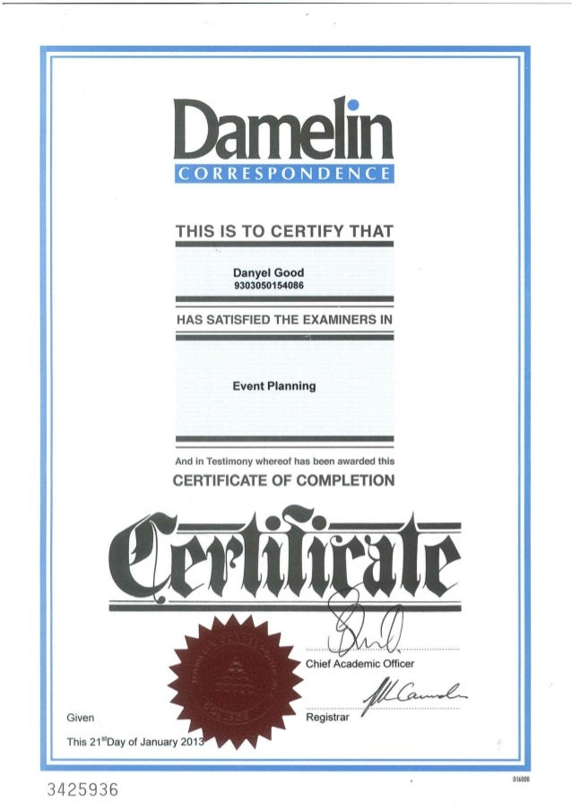 Damelin Certificate For Events Planning 2013