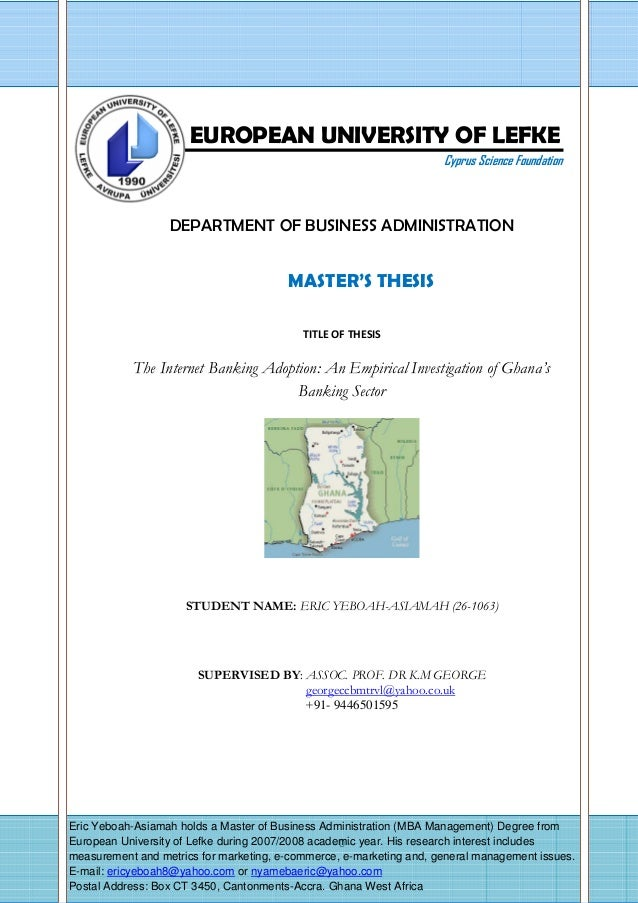 - 0 - Ndation EUROPEAN UNIVERSITY OF LEFKE Cyprus Science Foundation DEPARTMENT OF BUSINESS ADMINISTRATION MASTER'S THESIS...