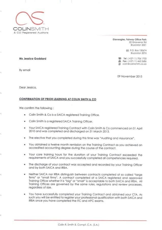 Colin Smith and Company Referral Letter